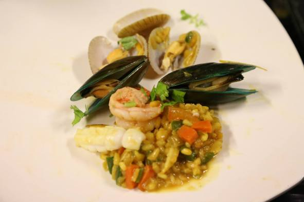 seafood risotto modelled after monterosso miky