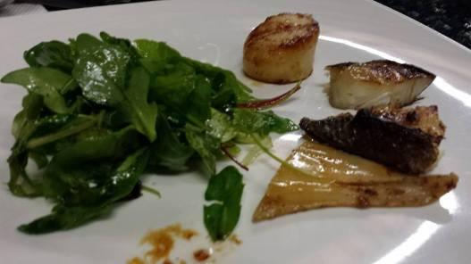 pan seared teriyaki cod, squid, hokkaido scallops, mesclun salad