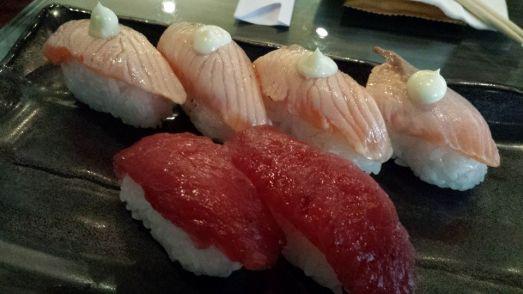 aburi salmon sushi & maguro susghi
