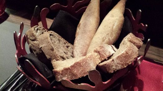 bread basket=baguette, olive bread, sour dough