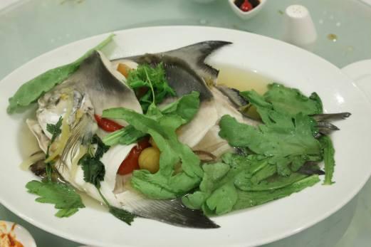 teochew steamed pomfret