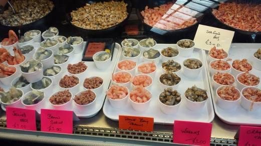 prawns, jellied eels, whelks, crayfish salad