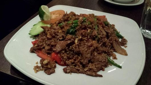 basil fried rice with beef,
