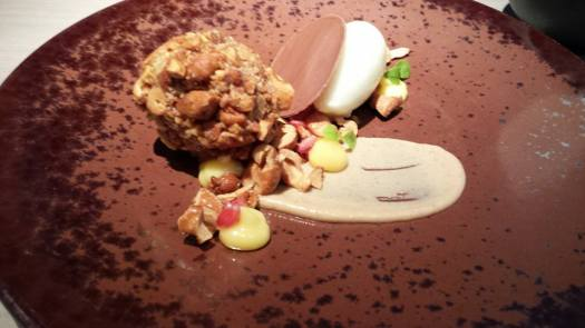 #4 salted cashew nuts, milk & peanut parfait, chocolate, & lime sorbe