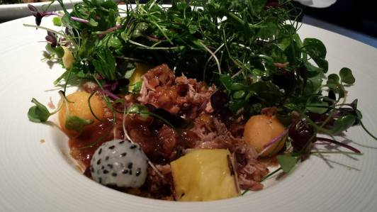 #1 crispy duck salad - pulled duck with crispy skin, melon, dragon fruits & salad