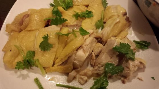 poached kampong chicken