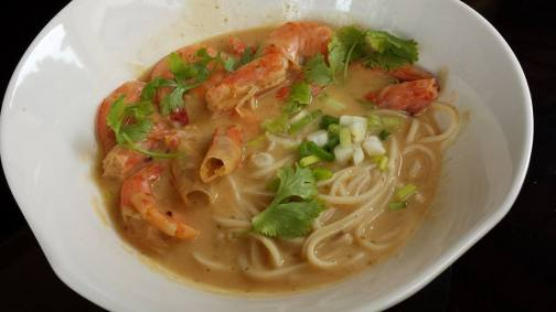prawn ramen in golden sauce