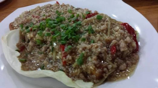 minced pork, salted fish on deep-fried bean curd
