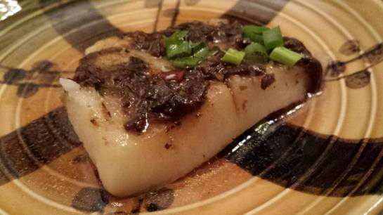 #3 steamed cod with preserved olive vegetables & black beans