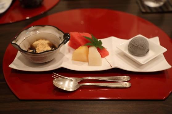 dessert - mochi, fruits, black sesame ice cream