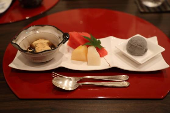 dessert - mochi, fruits, black sesame ice cream