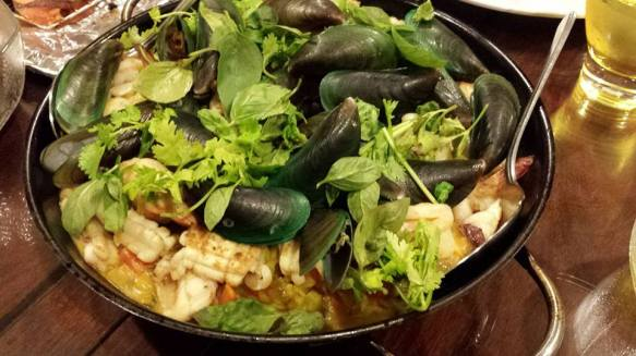 seafood risotto with prawns, squid & mussels