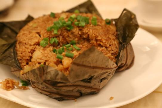 #5 fried rice with seafood wrapped in lotus leaf