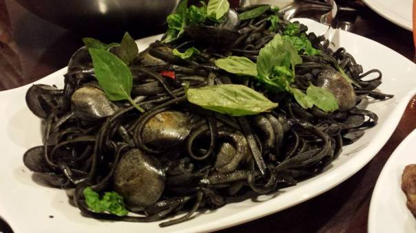squid-ink linguine with clams & squid