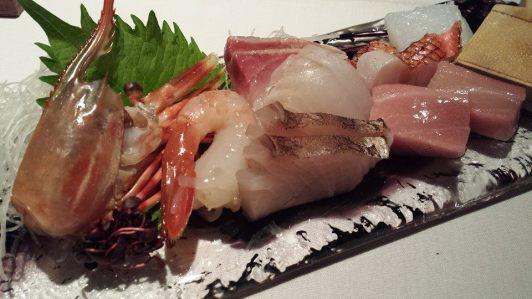 #4 sashimi moriawase 1pax = botan ebi, sawala (spanish mackerel), chutoro, ika, kinmedai, tai, hamachi