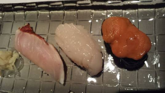 #10 my selection of sushi = kinmedai, hotate, uni (each diner can pick 3 types of sushi)
