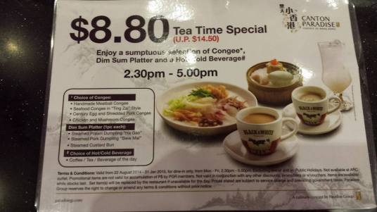 S$8.80 weekday afternoon promotion