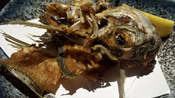 deep fried aji head & bones