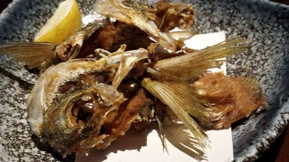 deep fried aji head & bones
