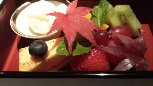 #11 dessert - yuzu ice cream, kiwi fruit, grapes, strawberries, blue berries, cheese cake slice