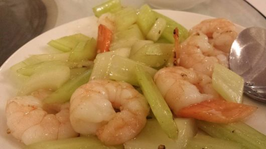 #11 fried prawns with celery