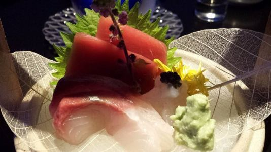 #2 sashimi - hamachi, maguro & white prawns topped with caviar