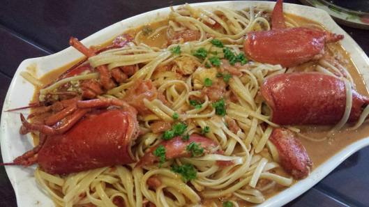 lobster in spicy pink (creamy tomatoes) sauce