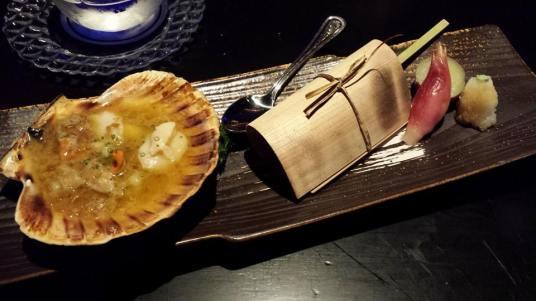 #3 shell grilled scallops, & kagoshima beef robatayaki