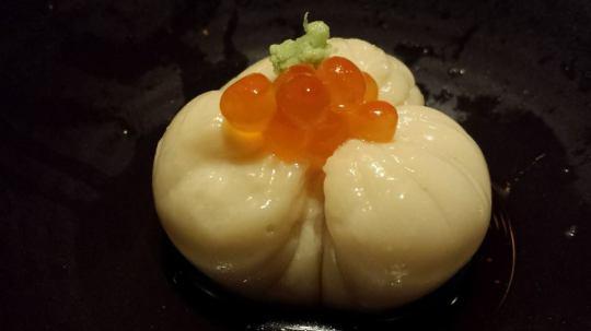#1 japanese taro, hokkaido uni in sesame tofu topped with ikura