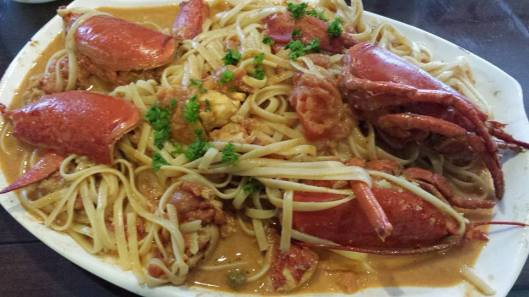 lobster linguine in spicy pink (creamy tomatoes) sauce