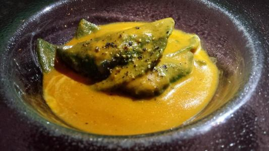 lobster blackened spinach ravioli