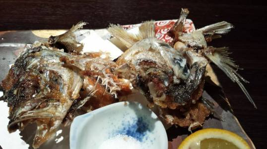 deep-fried aji fish head