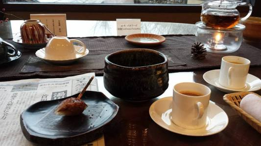 free macha, coffee & mochi at ryokan lounge