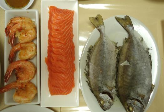 rabbit fish & salmon sashimi