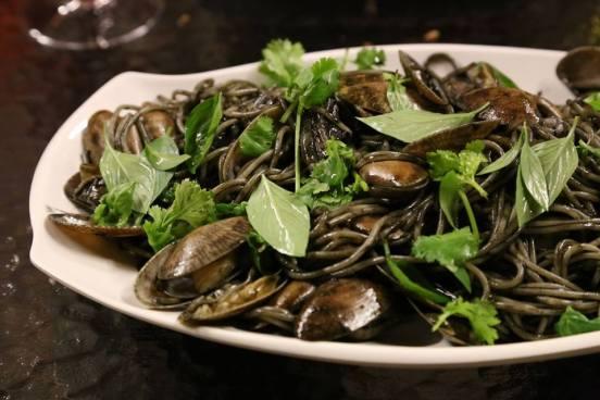 squid ink manila clams with squid spaghetti