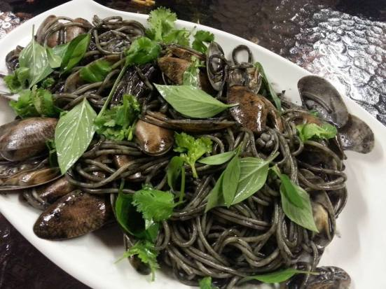 squid ink manila clams with squid spaghetti