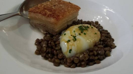 belly pork, lentils, poached egg