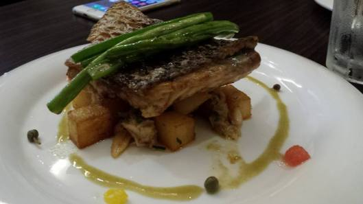 pan-seared seabass, potato, crabmeat