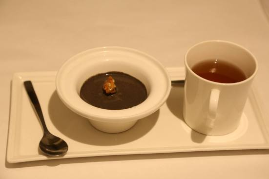 black sesame penna cotta with yuzu camomile