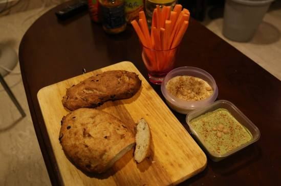 bread, hummus, carrot sticks