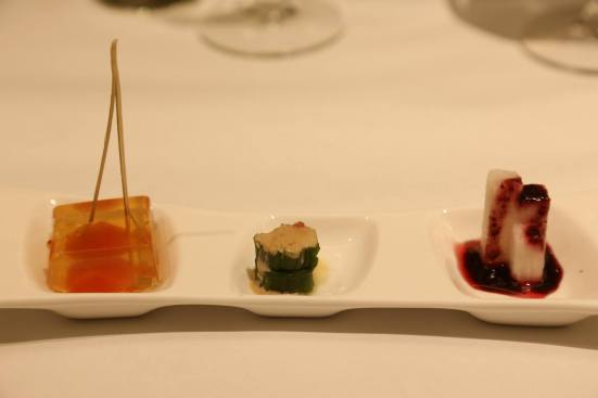 japanese yam with berry sauce, cucumber & cherry tomato plum jelly