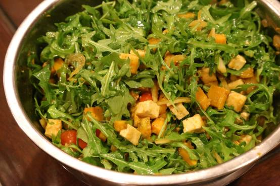pumpkin tofu rockets salad