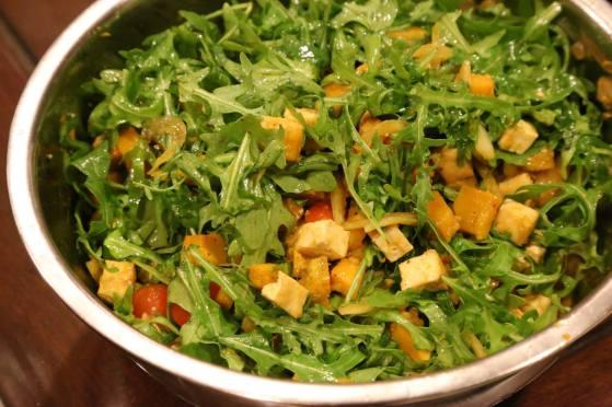 pumpkin tofu rockets salad