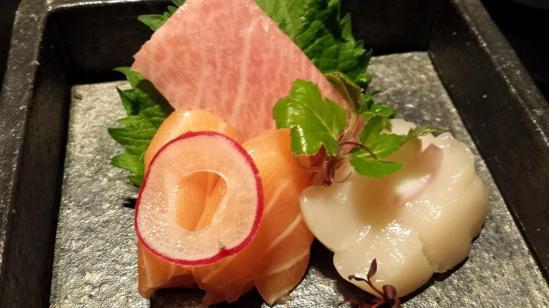 sashimi - toro, salmon, hotate