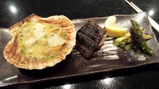 scallop, fish & asparagus