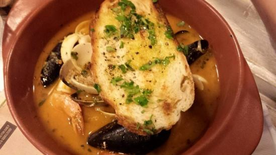 seafood bouillabaisse with toast