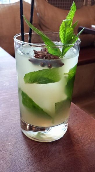 aperitif cucumber, apple, ouzo