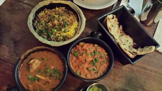 chicken curry, paneer curry, lamb biryani, garlic naan