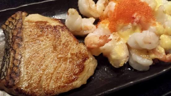 cod & golden prawns