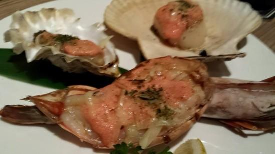 eafood mentaiko yaki (prawn, oyster & hotate